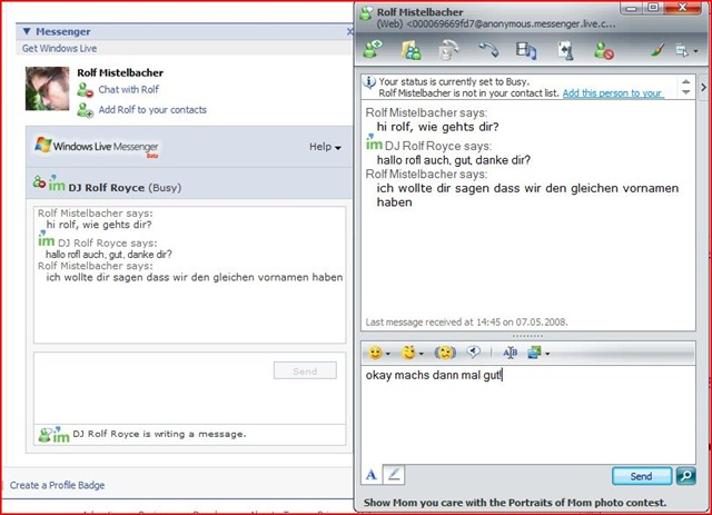 live messenger server: