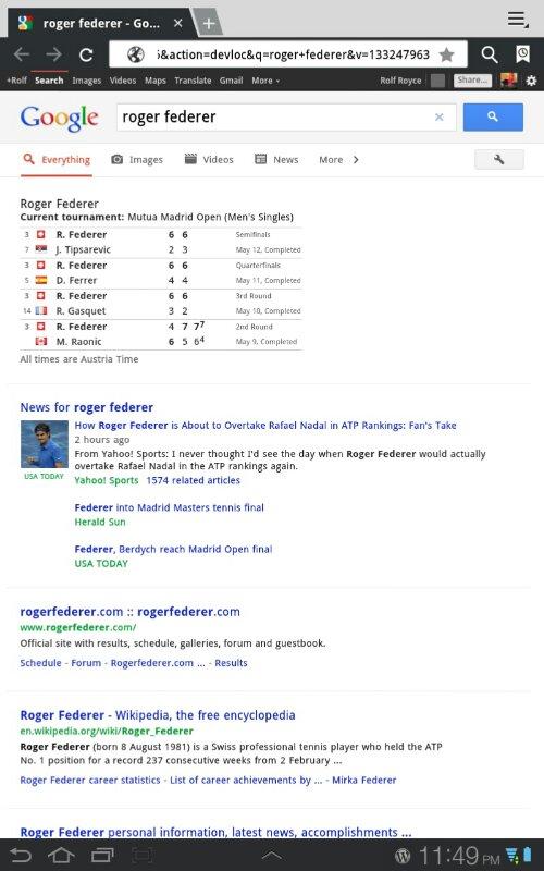 google screenshot suchergebnis am android tablet