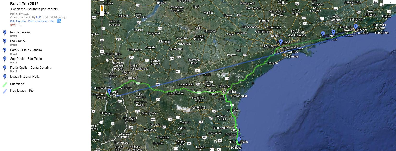 route der 3 wöchigen brasilien reise