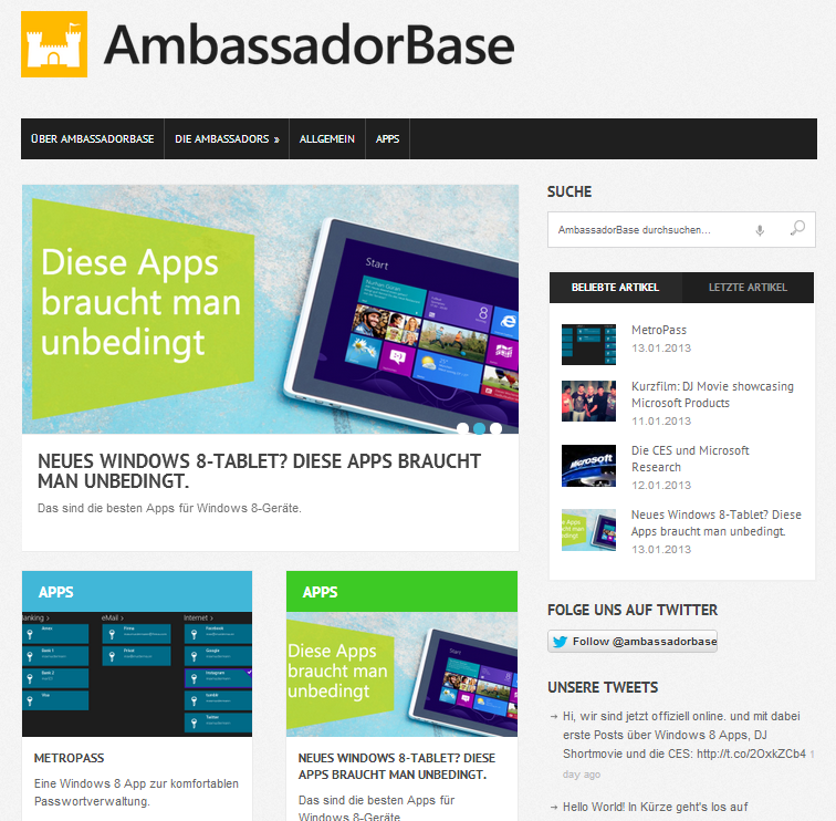 screenshot launch ambassadorbase