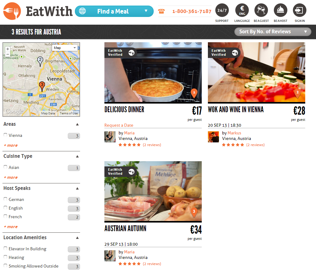 eatwith austrian listings